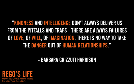 kindness and intelligence don't always deliver us from the pitfalls and traps there are always failures of love of will of imagination there is no way to take the danger out of human relationships barbara grizzuti harrison quotes, rego's life quotes, barbara grizzuti harrison